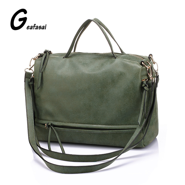COUPON green gray nubuck leather female ladies women handbags top handle Motorcycle messenger bag lady vintage shoulder bags PU