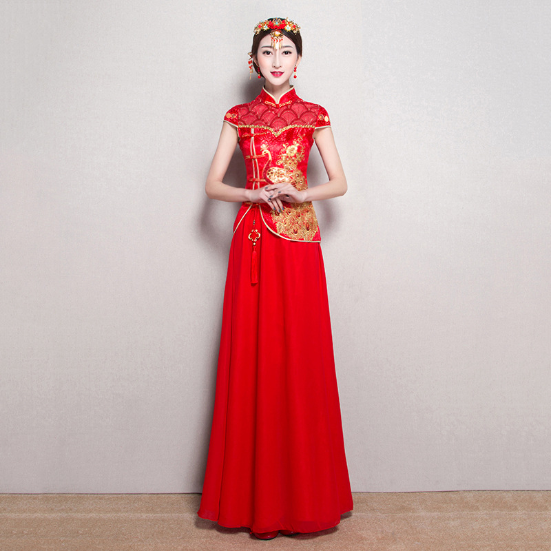 Fashion Red Traditional Chinese Clothing Short Sleeve Cheongsam for ...