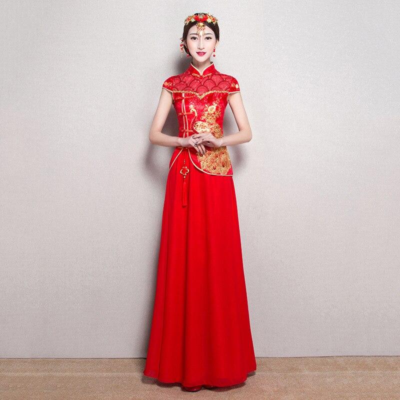 Mode Rot Traditionelle Chinesische Kleidung Kurzarm Cheongsam für ...