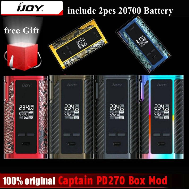 Original IJOY Capitão PD270 Caixa Vape Mod 234 W NI/TI/SS TC Electronic Cigarro Vaper Poder por dupla 20700 Bateria