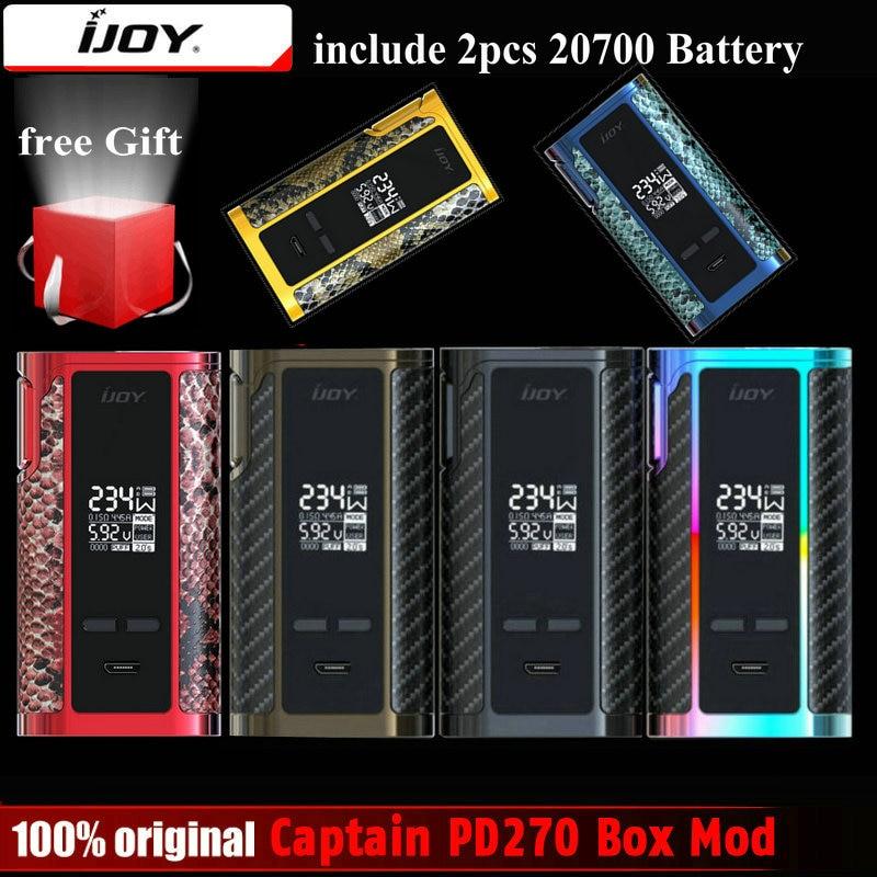 Original IJOY Captain PD270 Box Mod Vape 234W NI/TI/SS TC Electronic Cigarette Vaper Power by Dual 20700 Battery