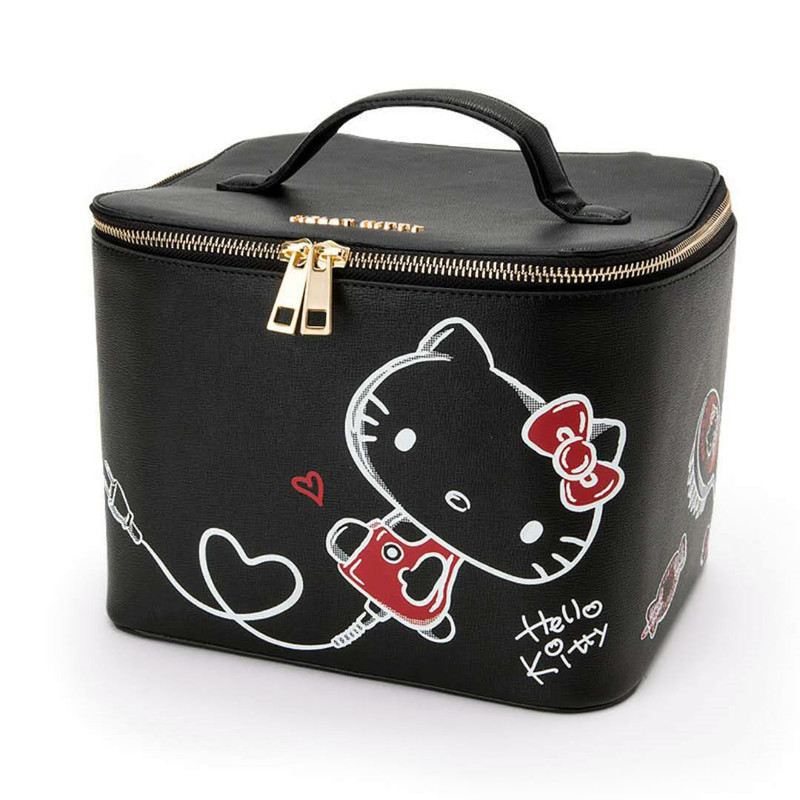 e0a1808067dd Cartoon Hello Kitty Black Makeup Bag Large Cosmetic Box With Mirror Women  Travel Pouch Leather Beauty Case Toiletry Storage Bag