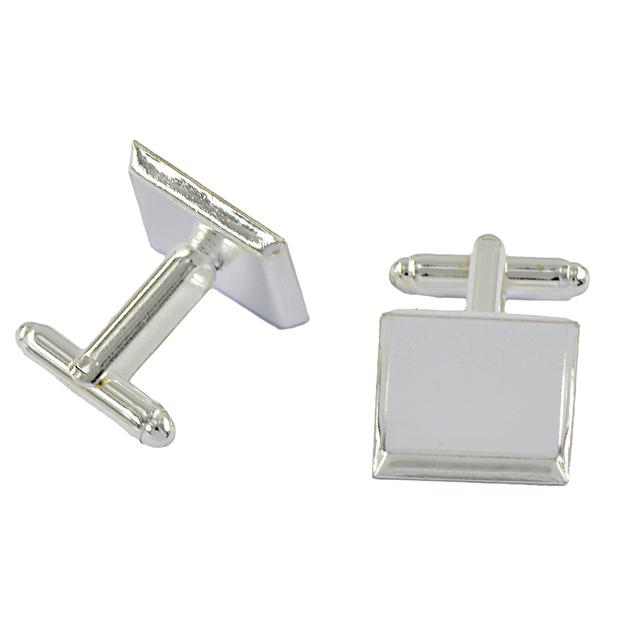 6pcs Square Blank Base Cufflink Diy Formal Silver White