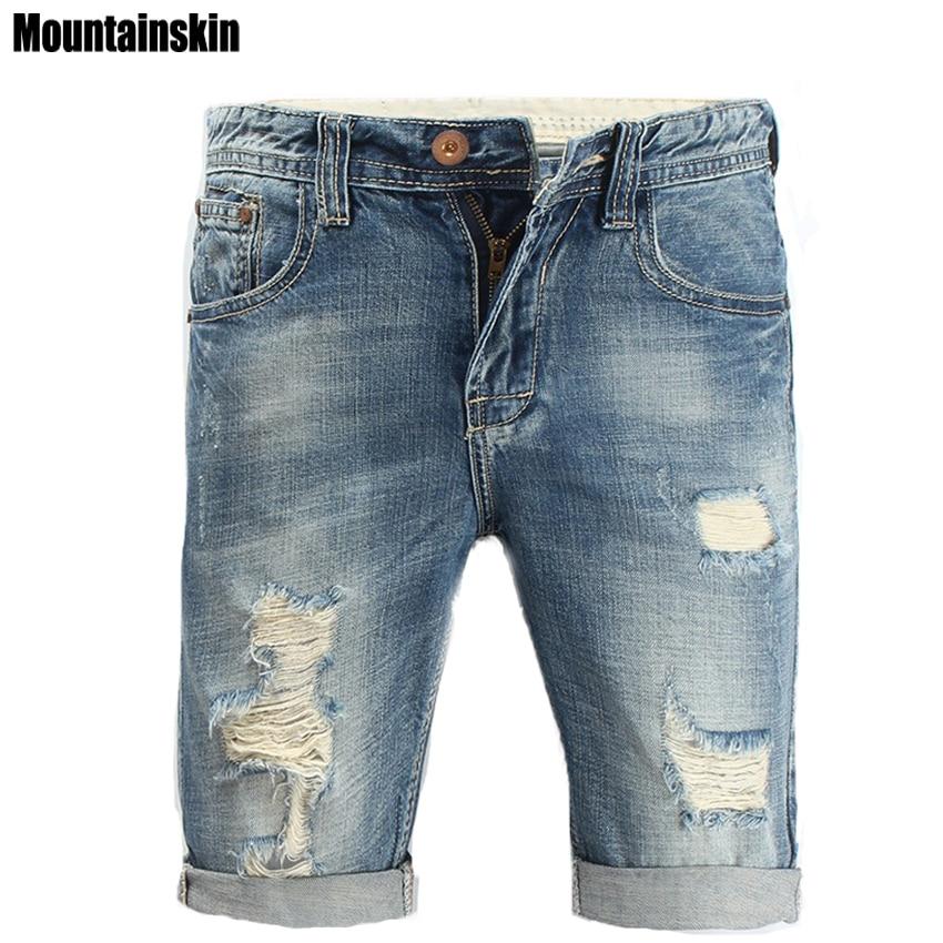 Mountainskin Summer New Men's Hole   Jeans   Pop Streetwear Male   Jeans   Mid Slim Men's Denim Shorts Solid Fashion Brand   Jeans  ,SA165