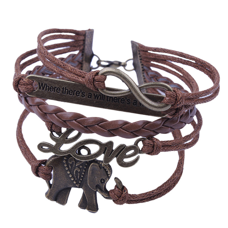 Elephant new brown lovely style Handmade Leather Braid Fashion Bracelet#8