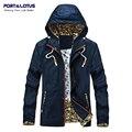 Port&Lotus Slim Fit Men Jackets Hooded Spliced Fashion Men Brand Clothing Clothes 196