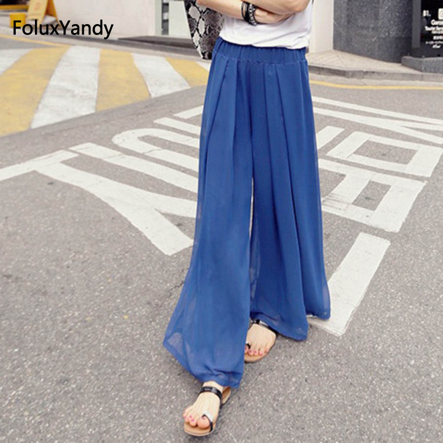 High Waist Loose   Wide     Leg     Pants   Women Plus Size 6 XL Casual Pleated Summer   Pants   OMW19