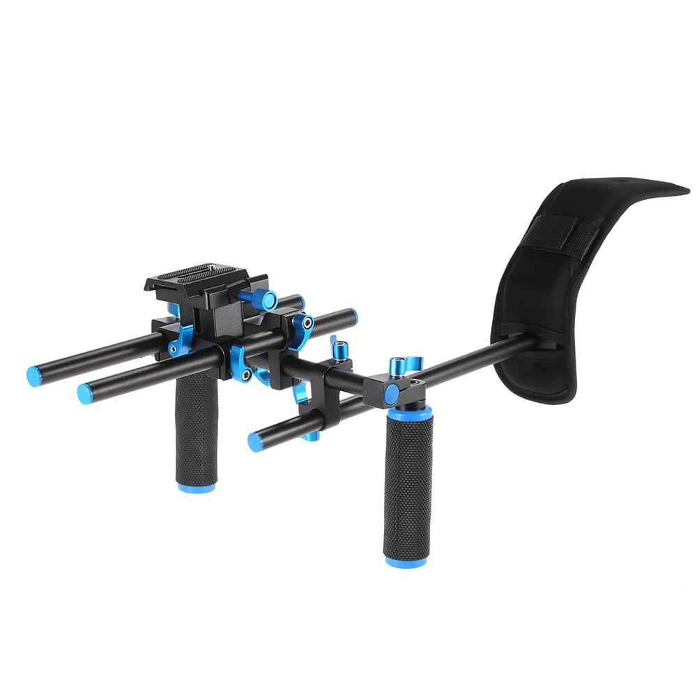 Video Shoulder Mount Support Rig Stabilizer With Screw Mount Slider Rod Double-hand Handgrip Holder For DSLR Camera Camcorder