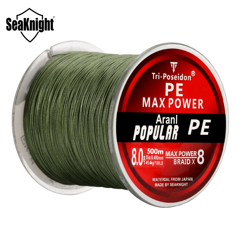 SeaKnight Brand Tri-Poseidon Series 8 Strands 500M 20-120LB Braided Fishing Line Strong Japan Material Sea Carp Fishing Wire