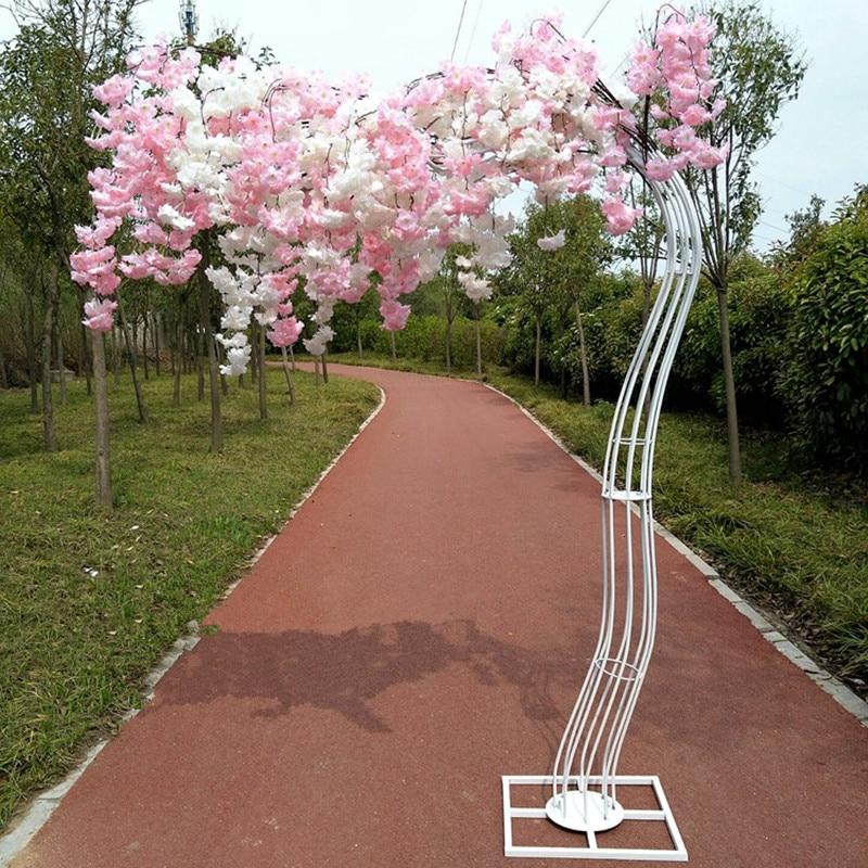 Романтический Свадебные украшения цветок вишни дерево дорога привел арки Жених и невеста фотографирования реквизит Доступно множество цветов