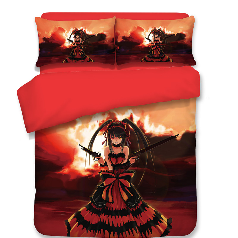 New pattern Japanese Anime Tokisaki Kurumi Bedding sets red Princess style Quilt cover duvet cover Quilt