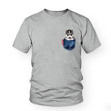 c8432ad92 Pet Husky Dog Cute Print T-Shirt 2018 Funny Jean Pocket T Shirts Men Women Short  Sleeve cotton summer Animal tshirts Tops tees