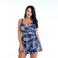 2019 Floral Print Bikinis Women High Waist Beach Swimsuit Dress Plus Size No Sleeveless Sexy Summer Swimwear Bikini Dress