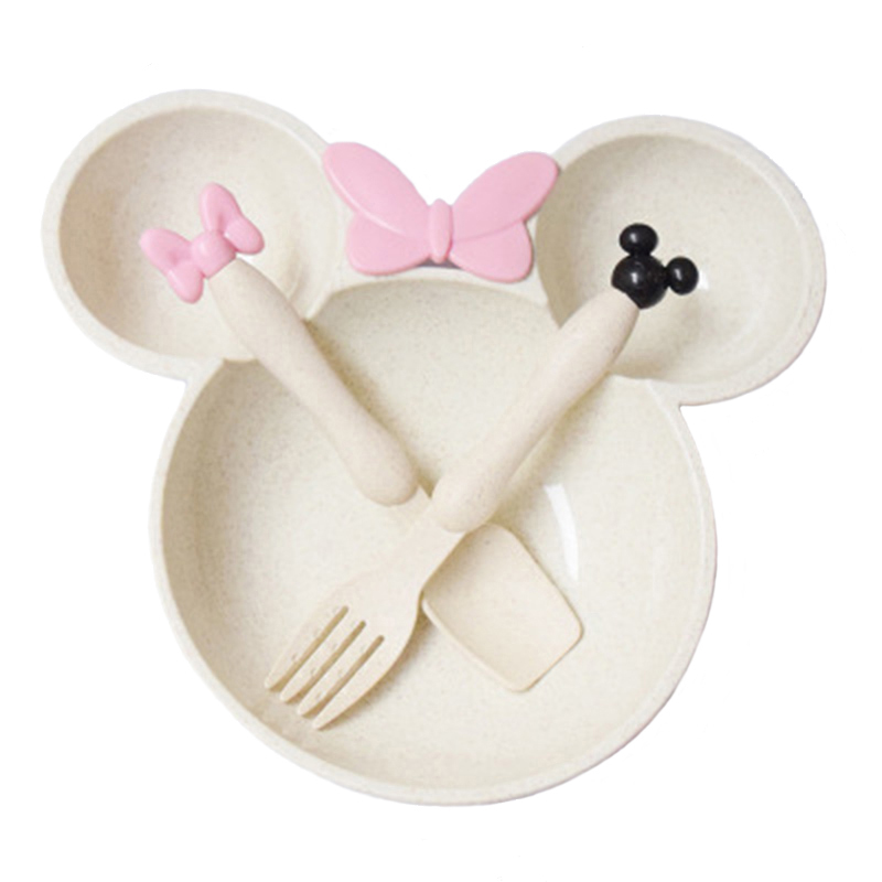 Baby Cartoon Mickey Food Set Wheat Straw Tableware Solid Cute Dish Kid Plate Bowl Children Feeding Dishes Dinner Set TY0387