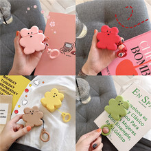 INS 3D Cute Cartoon Bear Cookie Candy Color Earphone Case For Apple Airpods 1/2 Earpods Soft Silicone Cover Finger Ring Strap
