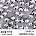SS3-SS30 Mine Silver Nail Art Rhinestones With Round Flatback For Nails Art Cell Phone And Wedding Decorations