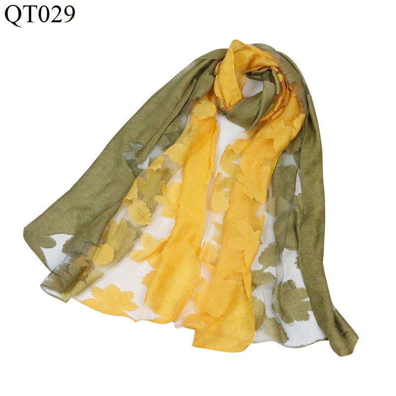 F&U Organza Embroidered Flowers Double Colors Long Soft & Light   Scarf     Wrap   Shawl Fashion For Women In Winter 5 Colors Available