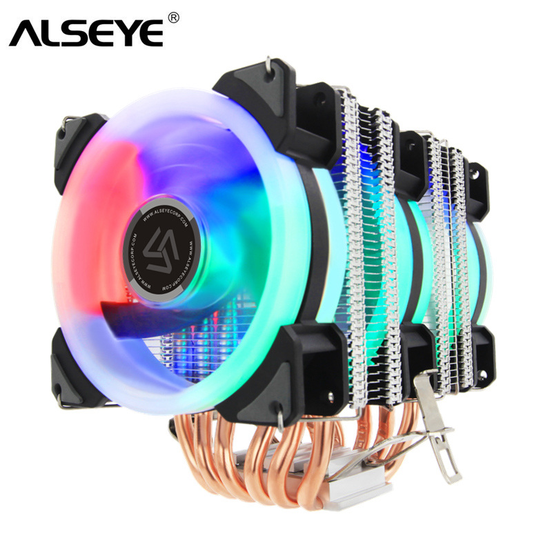ALSEYE ST-90 CPU Cooler 6 Heatpipe with RGB 4pin CPU Fan High Quality CPU Cooling New Arrival Лобовое стекло