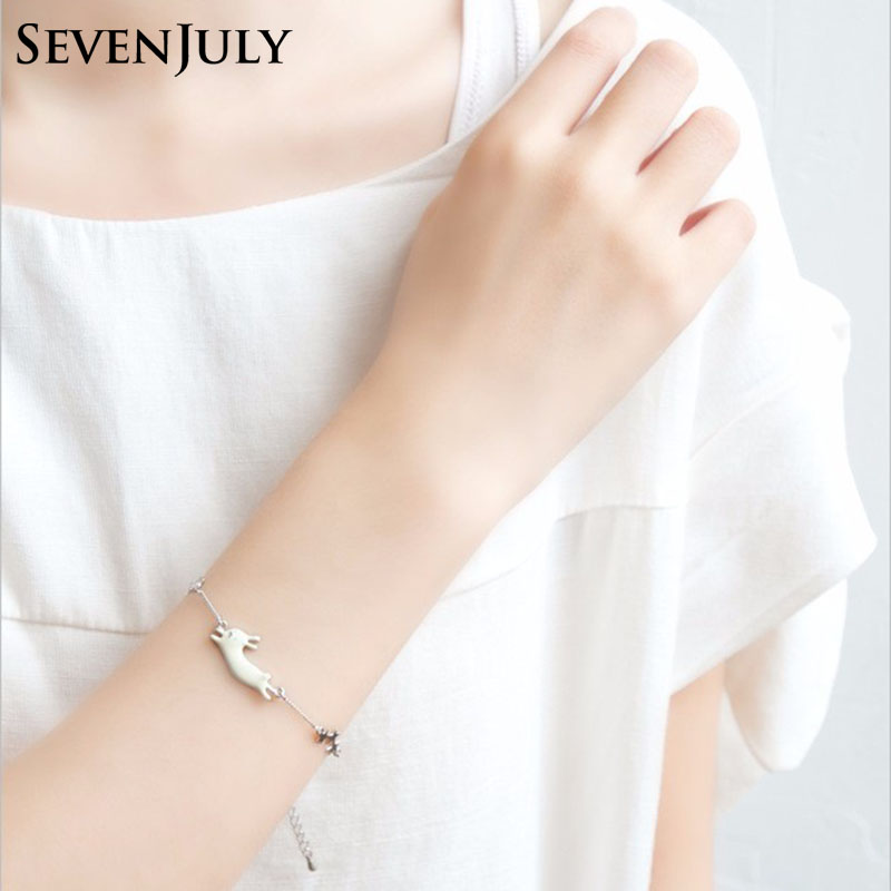 Japanese Style Sweet Girl Enamel Cat Rabbit Bracelet Metal Chain Women Fashion Jewelry Accessory