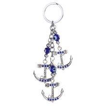 Fashion Casual Anchors/Owls/Blue Eyes Keychain Bag Pendant Alloy Rhinestone Car Jewelry Keyring Key Chains C945