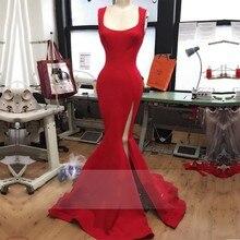 2016 einfache Sexy red mermaid abendkleid high slit backless abendkleid bodenlangen vestido de festa maß party kleid