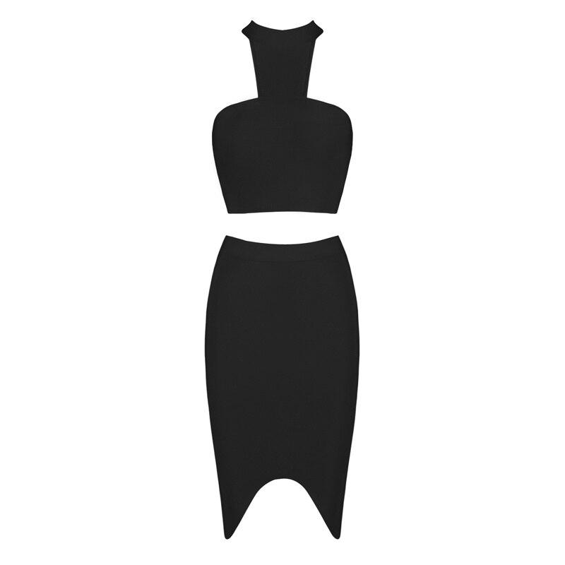 HTB1Qt3AKXGWBuNjy0Fbq6z4sXXao - 2018 Sexy Women Clothing Club Party 2 Piece Sets Fashion Bandage Dress Strapless Short Crop Top Patchwork Knee-Length Skirts