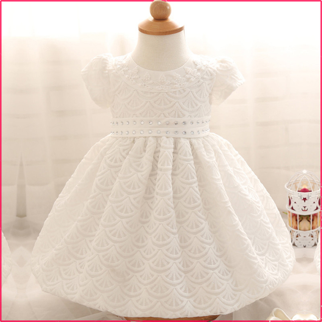 14f54d66981f White Infant Baby Girl First Birthday Party Dresses Baptism ...