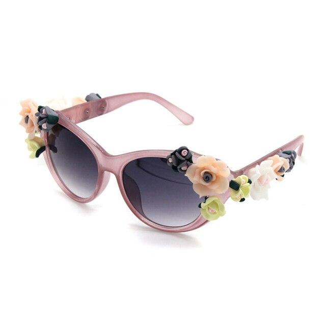 2017 New Fashion Baroque Women Girls Flower Sunglasses Retro Brand Sexy Gems Sunglasses Summer Beach Glasses ZM-12