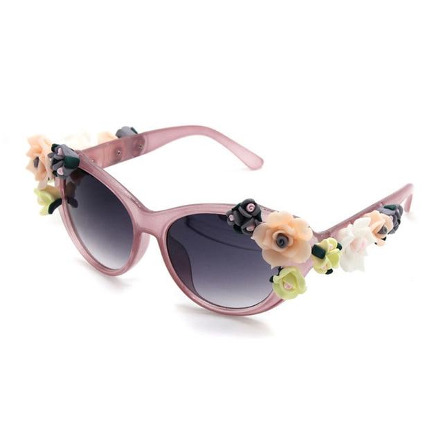 27ae48621 2017 جديد أزياء الباروك النساء بنات زهرة شمس الصيف شاطئ نظارات شمسية ماركة  الرجعية مثير الجواهر