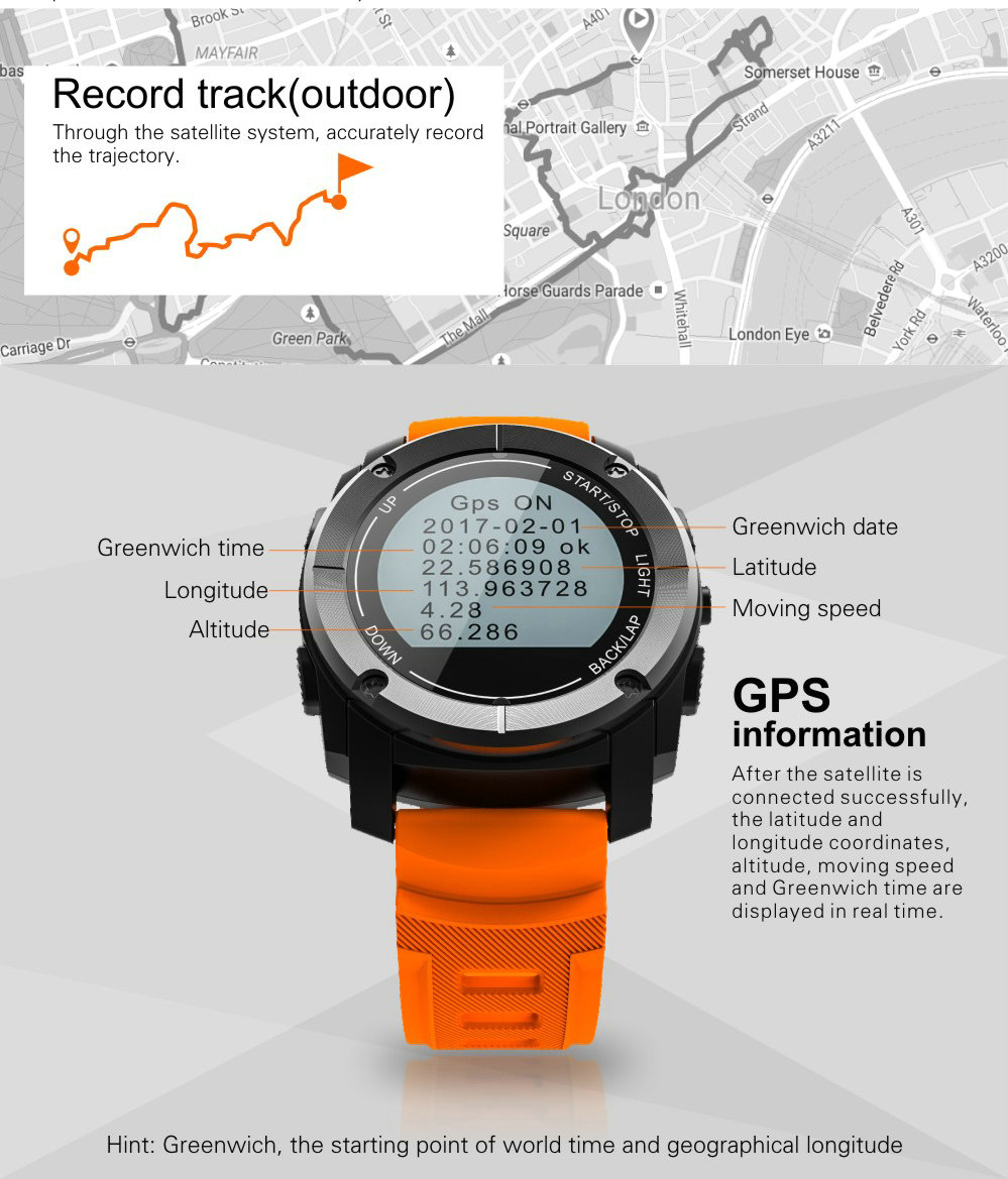 Greentiger GPS Outdoor S928 Smart Watch Heart Rate Monitor Smart Wristband Sport Smartwatch for Android IOS Phone 8