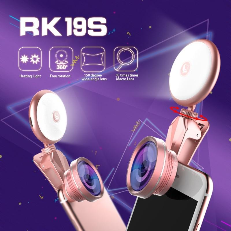 Universal Ultra-HD 4K Wide Angle Lens Super Macro Lens Fisheye lens Camera Lens Kit With 360 Degree Rotation Phone Fill Light