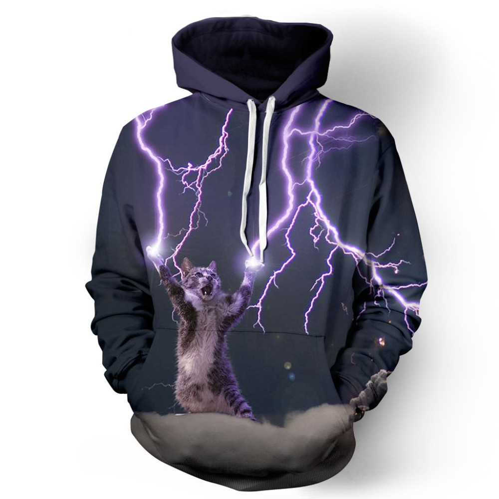 Headbook Fashion Women/Men 3d Sweatshirt Digital Printing Lightning Cat Meow Star People Brand Hooded Hoodies With Hat YXQL014
