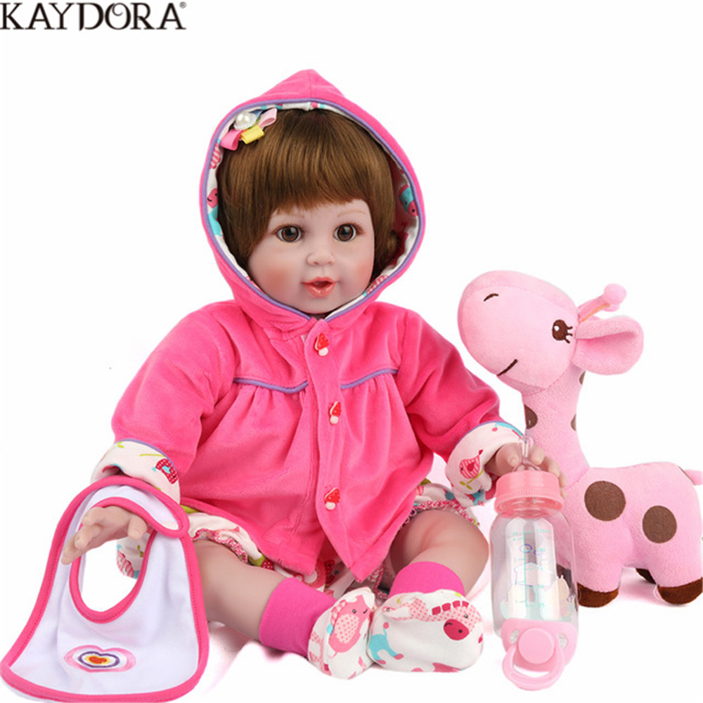 KAYDORA Baby 55cm Reborn Soft Cloth Body Silicone With Fawn Plush Toy Princess Doll Children Gift Bedtime Play House Toys modalu london mh6151 fawn