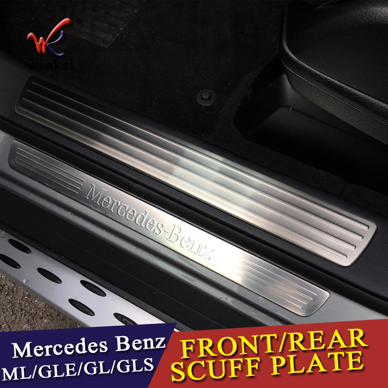 For Mercedes Benz GL GLS X166 ML GLE W166 4pieces Car-Styling Door Sill Scuff Plate Welcome Pedal Trim Cover Sticker Accessorie 4pcs abs chrome side door body molding cover trim strip plate for mercedes benz gle class w166