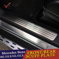 For Mercedes Benz GL GLS X166 ML GLE W166 4pieces Car Styling Door Sill Scuff Plate Welcome Pedal Trim Cover Sticker Accessorie