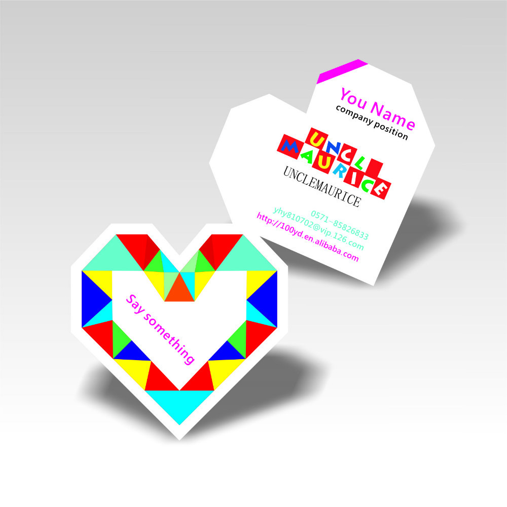 2016 fashion romantic heart shaped design business cards custom die cutting to special shape colorful printing 350gsm art paper in business cards from - Custom Shaped Business Cards