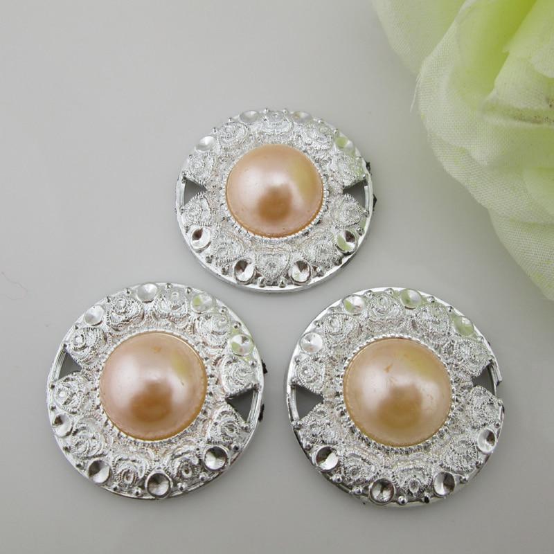 (PB106 30mm)20pcs Peach Pearl Button Plastic Flower Center Buckle