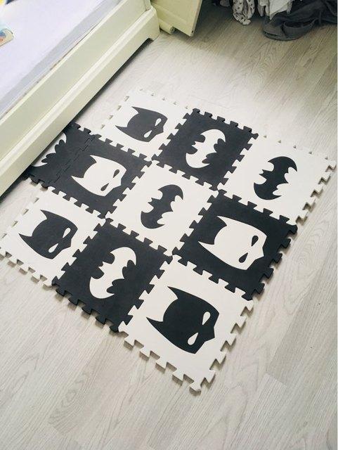 """Marjinaa EVA nuevo 10pcs 11,8 """"* 11,8"""" puzle Floor GYM suave alfombra de espuma para niños negro blanco BatMan AB juego de puzle corona de espuma de dibujos animados"""