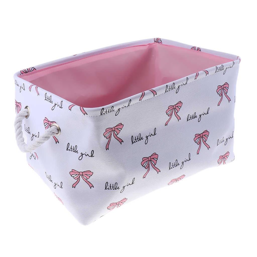 قماش سطح المكتب سلة التخزين أشتات صندوق تخزين مع مقبض مكتب الحاويات التجميل ماكياج المنظم حالة