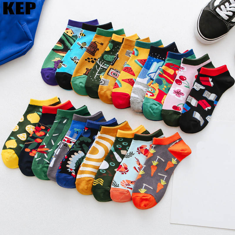 Casual Asymmetry Ab Funny Cute Women Cotton   Socks   Couple Tend Harajuku Street Hip Hop Men Novelty Colour Creative Popular   Socks