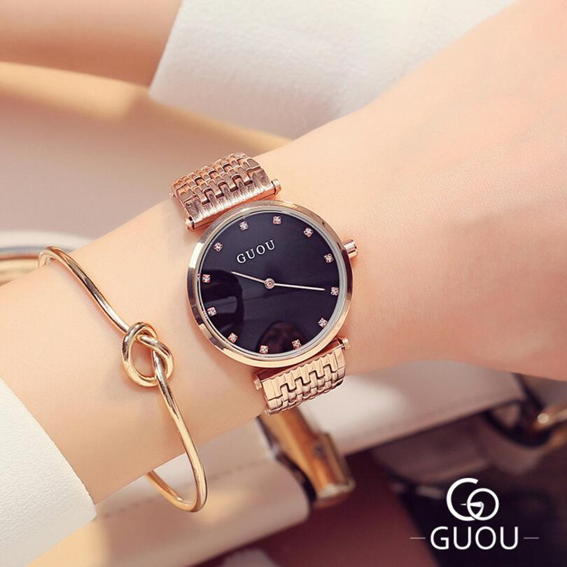 GUOU Rose Gold Watch Top Brand Luxury Diamond Ladies Watch Women Watches Women's Watches Clock saat relogio feminino reloj mujer guou ladies watch fashion color stone glitter women watches luxury genuine leather diamond watch reloj mujer relogio feminino
