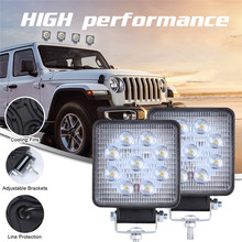 Luces Led Para Auto 2x LED Lamps For Cars LED Work Light Pods 4 Inch 90W Square Spot Beam Offroad Driving Light Bar