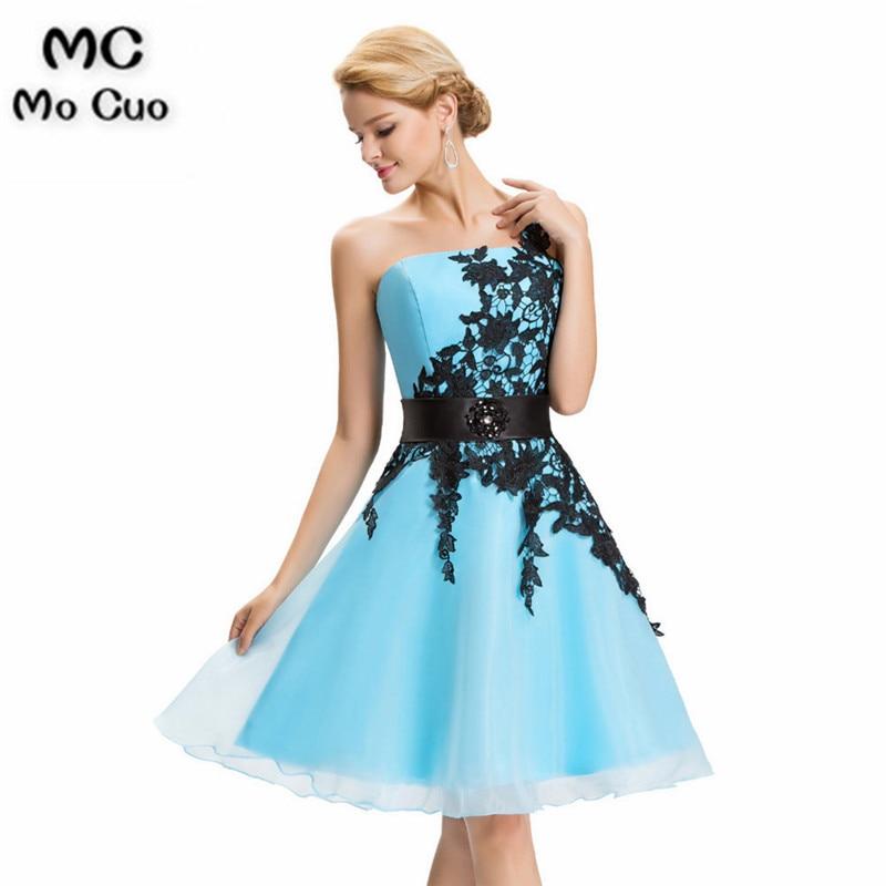 More color One Shoulder Lace Short Prom Dress 2019 Robe De Cockail Organza Evening Gowns Vestidos