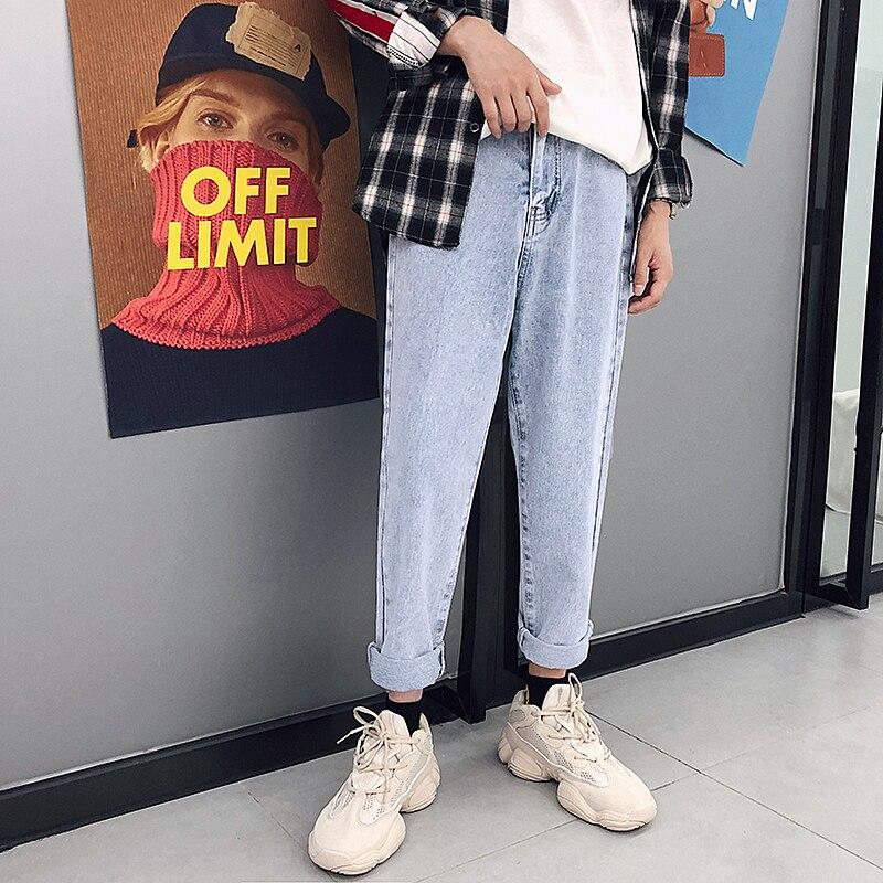 2018 New Fashion Four Seasons Loose Men Jeans Washed Cotton Casual Light Blue Cowboy Pants Zipper Jeans M-2XL Free Shipping 2