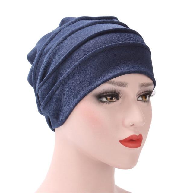 India mulheres Chapéu Cor Sólida Muçulmano Plissado Câncer Chemo Turban  Envoltório principal Cap Hat Beanie Scarf a0492f68bb8