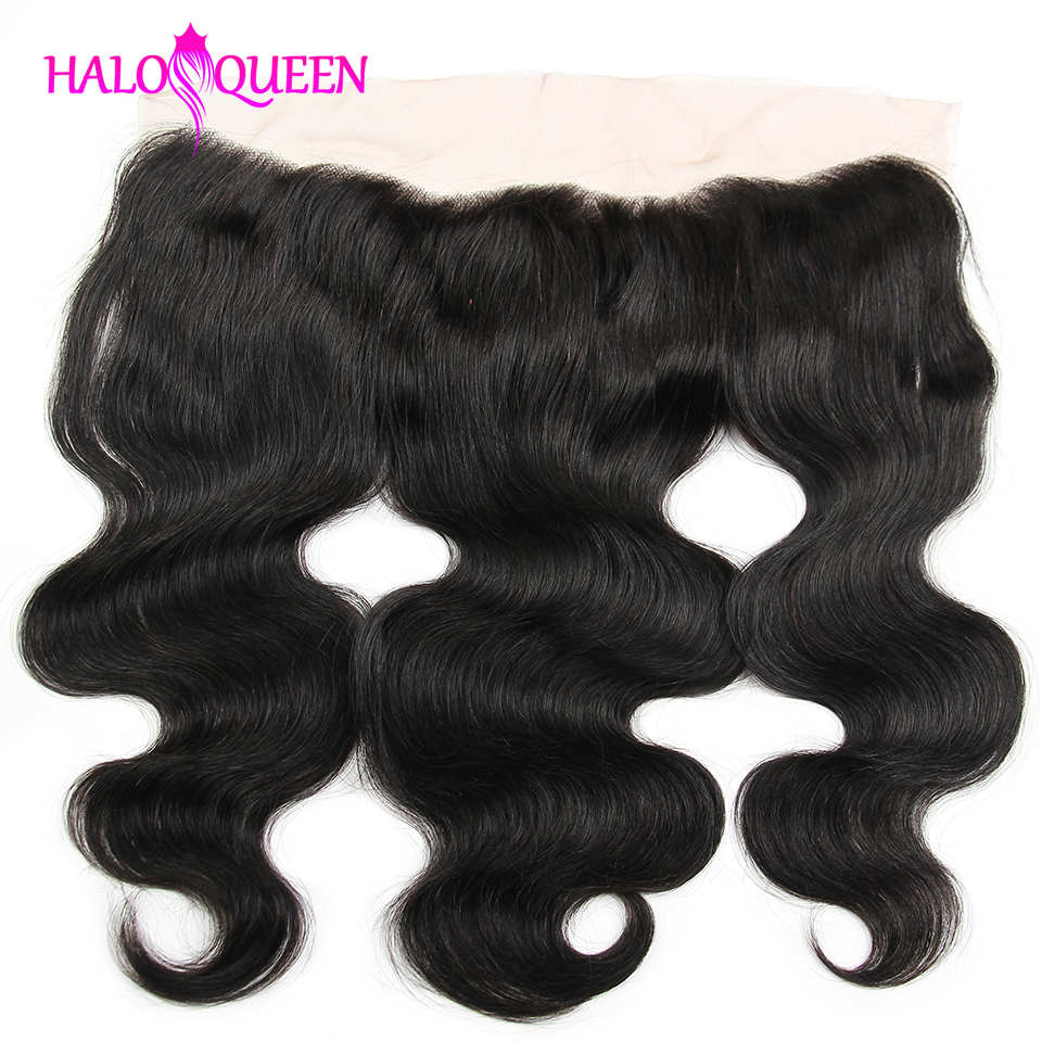 "HALOQUEEN  Hair Malaysia 13x4 Body Wave Human Hair Free/Middle/Three Part Lace Frontal 8""-16"" Natural Color Free Shipping(China)"