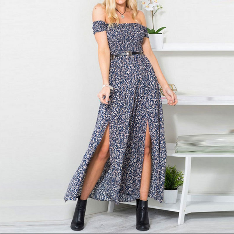 Sexy Strapless Beach Dress Women Sundress Boho Slash Neck Slit Maxi Long Dress Robe Femme Fashion Floral Print Dresses Vestidos in Dresses from Women 39 s Clothing