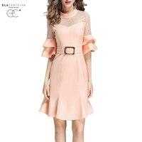 ElaCentelha Women Dress Summer New Style Fashion Elegant Slim Stand Collar Flare Sleeve Dresses Women Hollow