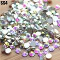 Tamaño pequeño SS4 ( 1.5 - 1.6 mm ) 1440 unids/bolsa Clear Crystal AB color Nail Art decoraciones FlatBack 3D FlatBack no HotFix