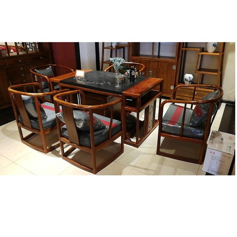 100% fait à la main en bois de palissandre chaises Table de thé meubles de salon 6 pièces/ensemble hérisson bois classique meubles anciens